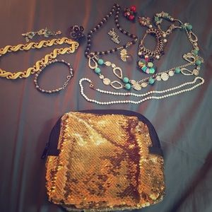 Jewelry Bundle + Sequined Pouch
